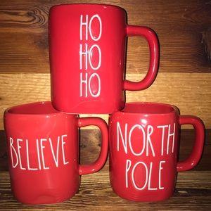 Rae Dunn HO HO HO BELIEVE NORTH POLE mugs